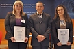 <p>Dr Peter Weidinger, Director Material Laboratory at the Brose Group, presented the Brose Prize to two female researchers Cindy Löser (Chemnitz University of Technology, left) and Dr Natalie Rudolph (University of Erlangen-Nürnberg).</p>