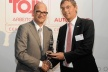 <p>Recognition of outstanding employer quality: Tilman Meyer (Director Human Resources, Brose Europe, pictured right) receives award from Steven Veendaal, CEO CRF Institute, in Frankfurt am Main.</p>