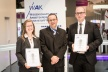 <p>Dr. Peter Weidinger (Director Materials Laboratories Brose Group) between Manuela Weiß (left) and Dr. Roman Schöldgen (right), the two winners of the Brose Award.</p>