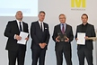 <p>Norbert Sommer (Vice President Development Door Systems Brose Group, 2nd from right) and Michael Thienel (Project Manager Innovation Team Advanced Development Door Systems, right), received the Best-Of award in the Materials category for the Brose lightweight door system made from endless-fiber-reinforced thermoplastics during the international Materialica trade fair in Munich from Christian Trassl (Board Member and Deputy Head of Department for Plastics at Neue Materialien Bayreuth, left) and Robert Metzger (Managing Director MunichExpo Veranstaltungs GmbH, 2nd from left).</p>