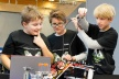 <p>Will this work? Thorben, Jonas and Fabian (from left) from Deutschhaus-Gymnasium in Würzburg are curious whether their robot can solve all 15 tasks independently.</p>